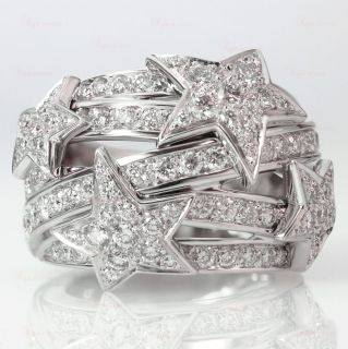 CHANEL Comet 18k White Gold Diamond Star Dome Ring
