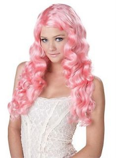 Long SEXY Wavy Katy Perry Fairy Womens Costume Wig PINK