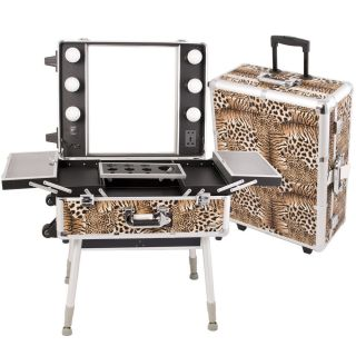 STUDIO STATION MAKEUP ARTIST ROLLING CASE WITH REG LIGHTS LEOPARD