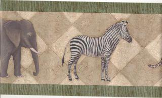 Wallpaper Border / Elephant Cheetah Zebra Wall Border/Green Trim