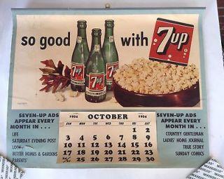 Up Soda Sign Calendar 1954 Life Saturday Evening Post Magazine
