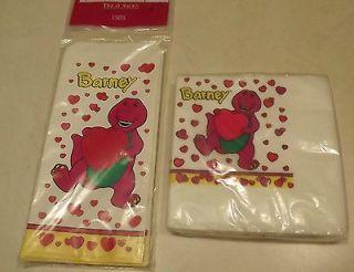 Barney Baby Bop I Love You Valentines Treat Bags & Napkins 1993
