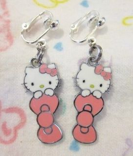 Adorable HELLO KITTY Hanging from Pink Bow CLIP ON Earrings