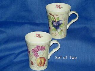 English Bone China~SET OF 2 Fruit Design Coffee Tea Mugs~New~Made in