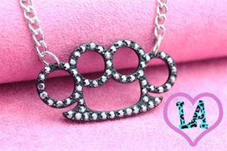 SILVER BLACK CRYSTAL BRASS KNUCKLE DUSTER NECKLACE