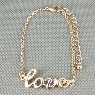 Fashion Simple Style charm Gold tone Metal LOVE Bracelet