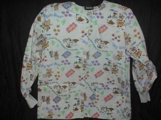 YOGI BEAR & Boo Boo long sleeve medical dental uniform scrub top