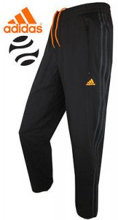 Adidas Black/Orange Tracksuit Bottoms   Running Pants   ClimaCool All
