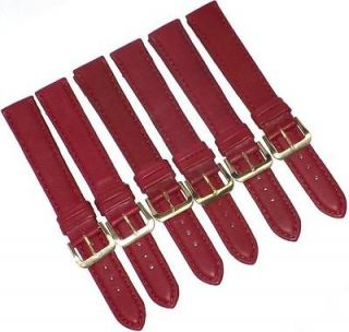 WHOLESALE LOT OF 6PCS.WATCH BANDS BURGUNDY GENUINE LEATHER EXTRA LONG