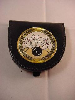 BOWLING BALL & PINS BLACK COIN HOLDER CHANGE PURSE NEW