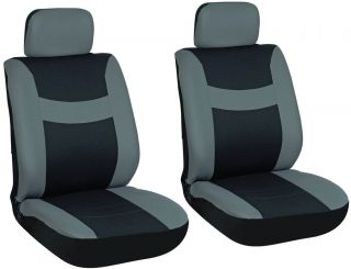 Gray and Black Front Car Seat Cover Set Bucket Chairs