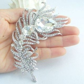 Peacock Feather Brooch Pin w Clear Rhinestone Crystals EE05038C1