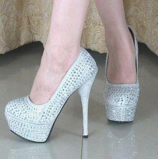 Crystal Prom Party Stilettos Platform High Heels Wedding Bridal shoes