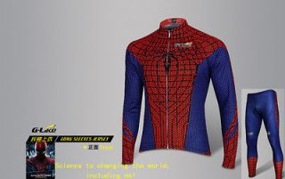ONE Spider Man Slim Bicycle Cycling Long Sleeves Jersey & bib pants M