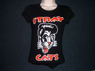 Womens STRAY CATS Black short sleeve T shirt S XL Vintage Style Stray