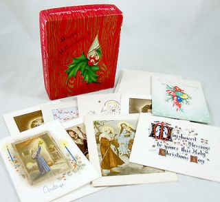 Merry Christmas 9 Assorted Vintage Greeting Cards & Box Religious