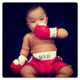 Wearable Baby Boxing Gloves & Boxing Trunk combo for toddlers 18month