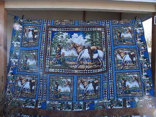 girl boy quarter horse ranch rodeo KING QUEEN QUILT USA 99 x 99