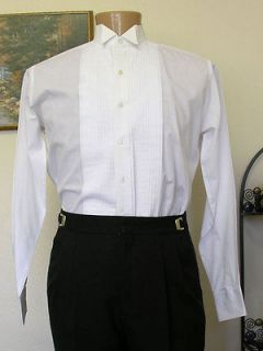 white used wing tip collar pleated tuxedo shirt pleats steampunk