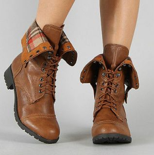 Womens Soda Low Heel Mid Calf Foldable Military Combat Boot Shoes NEW