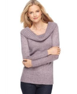 One A NEW Purple Marled Ribbed Trim Cowl Neck Long Sleeve Pullover
