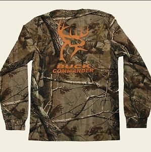 BUCK COMMANDER CAMO T SHIRT LONG SLEEVE ORANGE LOGO