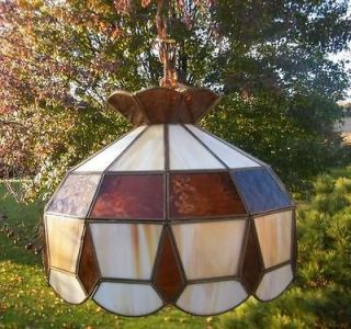 TIFFANY STYLE DIAMOND AMBER TAN SLAG STAINED GLASS LIGHT HANGING LAMP