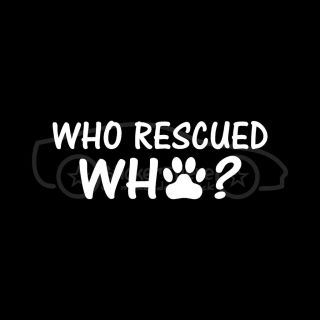 WHO RESCUED WHO? Sticker Paw Print Vinyl Decal Dog Puppy Animal