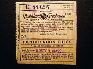 Northland Greyhound Lines Green Bay to Boston Ticket 1956