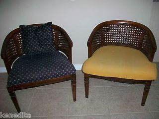 Pair Barrel Chairs 2 Mid century Parlor French Country Hollywood