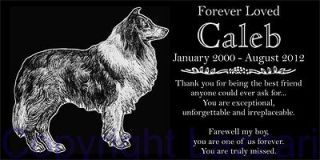 Personalized Rough Collie Pet Dog Memorial 12x6 Granite Grave Marker