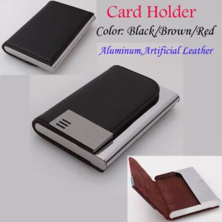 Classic ID Business Credit Card Holder Case Purse Aluminum +Artificial
