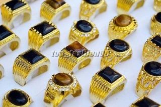 lot 12pcs Man Jewelry Tiger eye gemstone&glaze Gold Plated Rings
