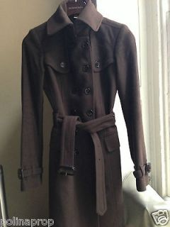 NWT Burberry London Moorland Wool Cashmere Trench Coat Brown US 2