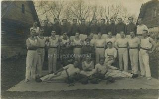 Military athletes w barbell boxing gloves antique photo