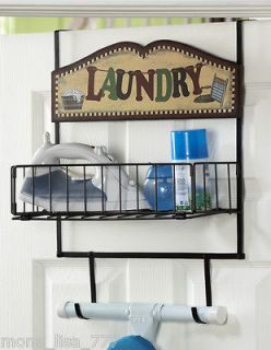 NEW OVER THE DOOR IRON OR LAUNDRY SUPPLIES IRONING BOARD HOLDER RACK