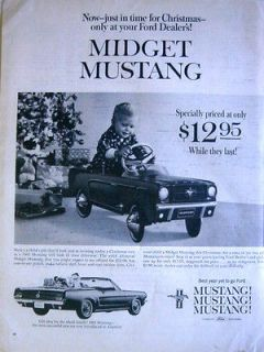 1964 FORD DEALER MIDGET MUSTANG PEDAL CAR FOR CHRISTMAS   Print Ad!