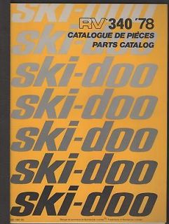 1978 SKI DOO RV 340 SNOWMOBILE PARTS MANUAL P/N 480108700