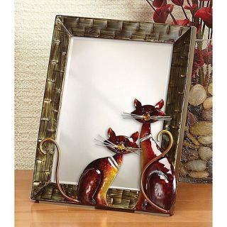 Small Metal Cats Table Mirror   Table Mirror