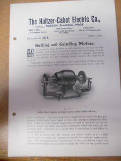 Antique Holtzer Cabot Electric Grinder Motor Catalog VG