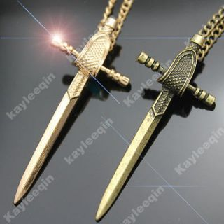 Antique Medieval Knight Gladiator Sword Fencing Style Pendant Necklace