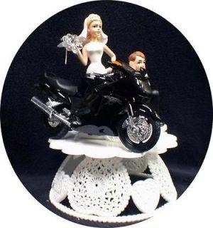 Wedding Cake Topper w/die cast Harley Davidson Motorcycle Black Road