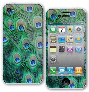 Peacock Feathers Skin Sticker For iPhone 4/4s Protector  Back & Front