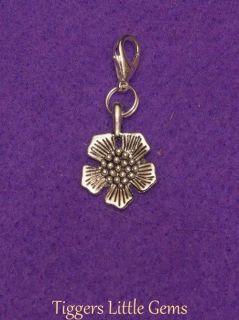 Tibetan Silver Tudor Rose Flower Charm on silver tone Clip/Clasp