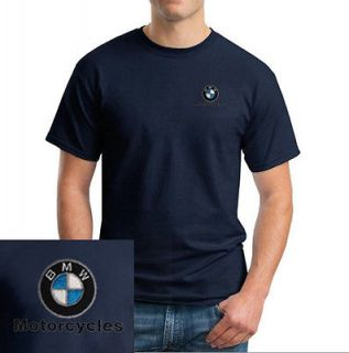 BMW Motorcycle Logo EMBROIDERED Navy Blue Short Sleeve T Shirt New
