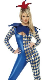 Sexy Harlequin Catsuit Court Jester Halloween Costume Small