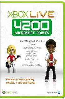 MICROSOFT XBOX 360 LIVE 4200 POINTS CARD BRAND NEW SEALED OFFICIAL PAL