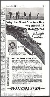 1934 WINCHESTER Model 21 Double Side by Side SHOTGUN AD Emil