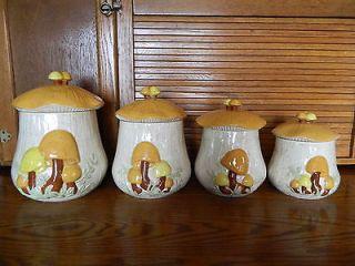 Retro ARNELS 4 Piece MUSHROOM CANISTER SET Kitchen Lids Ceramic