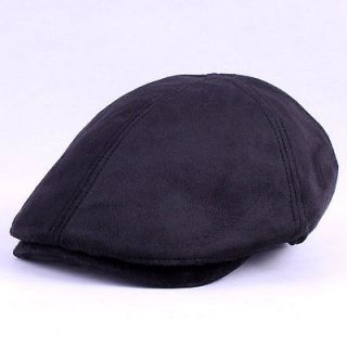 Womens Faux Suede Leather Flat Ivy Cap Gatsby Irish Cabbie Newsboy Hat